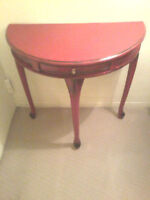 TABLE DEMIE LUNE ROUGE ANTIQUE