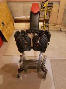 Pair Bowflex 1090 Dumbbells 10lbs to 90lbs and Stand and Bench