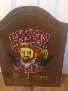 "Vintage ""Kings Head"" used dart board and cabinet"