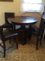 Solid wood bar height table & 3 chairs