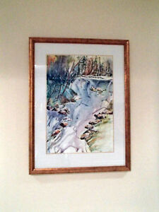 tableau Diane Boulet-Aquarel- ORIGINAL- CERTIFICAT Authenti