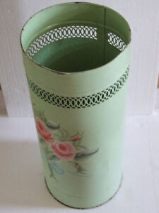 METAL MINT GREEN HANDPAINTED FLORALS PLANTER UMBRELLA HOLDER London Ontario image 1