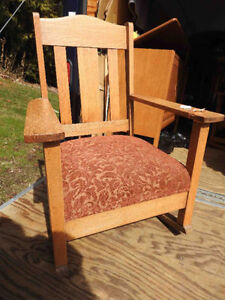 antique oak arts and craft rocker restored, new fabric seat