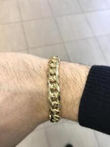 10k Yellow Gold Cuban Link Bracelet 9 inches 11.5 mm 27 gr