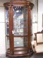 Bowed Glass China Cabinet with glass shelves
