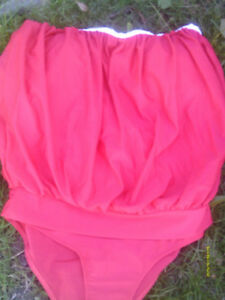 RED 1 Piece Bloson Style Bathing Suit