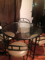 BLACK METAL/GLASS DINING ROOM TABLE + 4 CHAIRS - $125