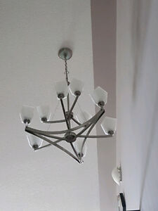 Stainless Steel Hanging chandelier.