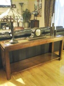Antique Vintage Wood & Glass Console Beautiful!