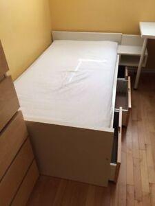 IKEA Bedroom set Bed(3 drawer)Mattress,n/Table,Dresser(6 drawer)