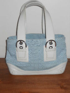 Coach light blue and white canvas Purse