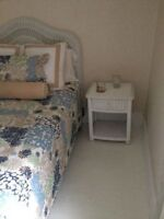 Double Bed Set, Nightstand, Chest, Chair - White Wicker