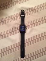 Fs: Apple Watch 42mm SS Black Sport Band W/ Apple Care & Stand