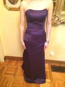 Mori Lee purple long strapless dress