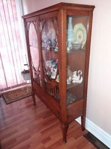 Beautiful Antique China Cabinet w glassed sides ,solid walnut !