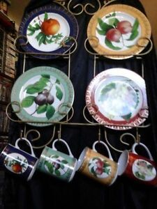 American Atelier cups, plates and Display Rack