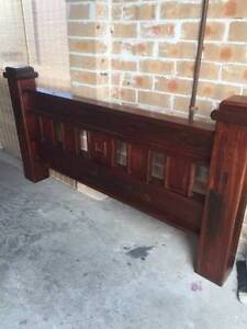 Solid Timber Queen Size Bed with Side Tables and Mirror Narellan Camden Area Preview