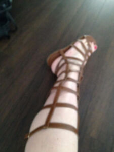 NEW TALL GLADIATOR SANDALS BLACK oR BROWN  SIZE 9