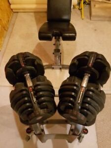 Pair Bowflex 1090 Dumbbells 10lbs to 90lbs + Stand no bench rack