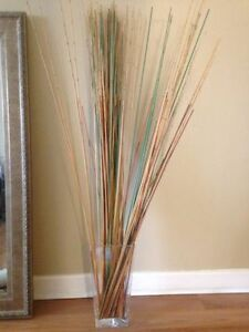 4' tall reeds in glass vase - matching set