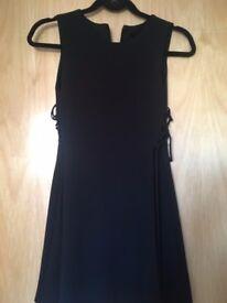 Topshop Petite Size 8 black mini dress with lacing detail