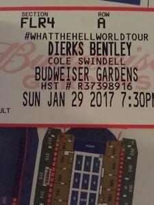 Dierks Bentley Budweiser Gardens Floor ROW A Hard Copy Tickets!