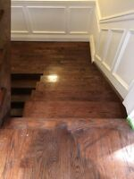 Sanding floors and stairs and finishing