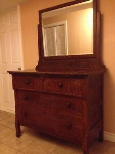 antique tiger oak dresser CIRCA 1920s