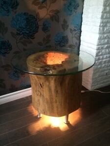 Live edge tree stump side table with light