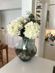 Pier One Heavy Glass Vase with Flowers