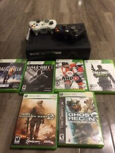 Xbox 360 Black Console - Games + Controllers