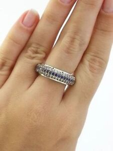 925 SOLID Sterling Silver Sapphire Band Ring Size 9
