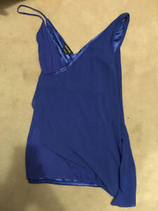 BEBE blue chiffon overlay dress