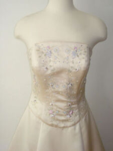 Ball gown Strapless Wedding Dress -  Cream embroidered with Wrap