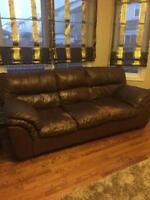 Leather Sofa & 2 Rocking/Reclining Chair & FREE Table