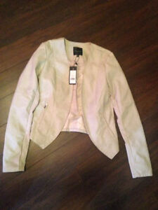 NEW CREAM LEATHER STYLISH OPEN FRONT JACKET FROM DYNIMITE SMALL