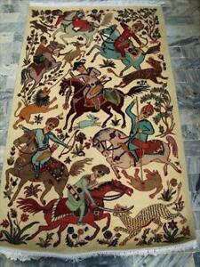 6 Horses King Hunting Gorgeous Designed Wall Tapestry Hand Knotted Wool Rug (5.9 x 3.6)'