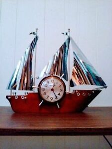 c. 1950 MASTER CRAFTERS Ship MANTLE Clock Antique Vintage