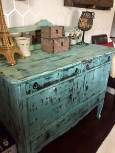 Beautiful Antique Buffet Hand Painted