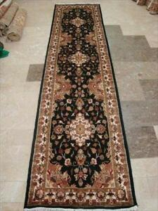 Exclusive Hot Black Floral Kashan Soft Hand Knotted Hall Way Runner Rug (10.1 x 2.7)'