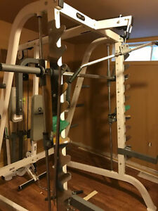 Keys Smith Machine + Hoist Bench + Rubber Coated Plates + Bars.