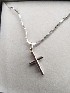 14K, NECKLACE & 12K CROSS PENDANT WHITE GOLD