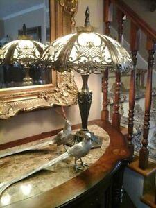 Tiffany Style Glass & Brass Lamp Stunning!
