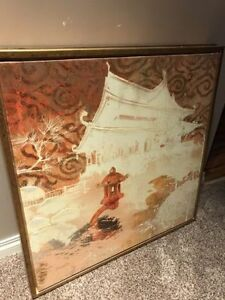 Two (2) Japanese themed art work 2x2 foot wood mural painting