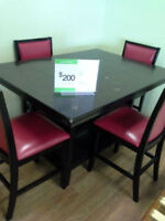 Black Dinette with Bonded red Leather Chairs