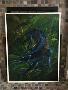 Large Stunning Original Panther Painting Acrylic Oil Signed