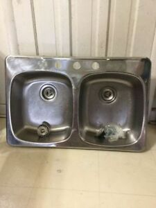 Kitchen double sink stainless steel