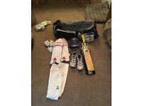 Full cricket set- bat- pads- helmet- spikes- whites- box- gloves- bag