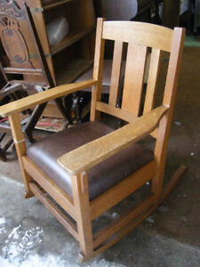 arts and craft oak rocker  leather seat
