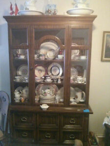 Large 2 Piece Wooden Display Cabinet London Ontario image 1